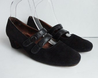 70s Black Suede And Leather Shoes // Size 37,5