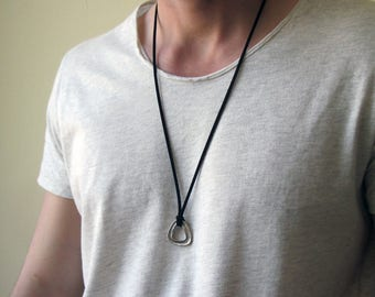 Mens Silver Geometric Necklace - Men's Leather Necklace - Mens Necklace - Mens Triangle Necklace - Necklaces For Men - boyfriend gift