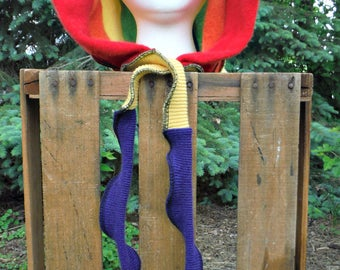 Recycled Sweater Hood, Scoodie, Winter Hat, Pixie Hood, Elf Hood, Cosplay, Recycled Cashmere, Organic Clothes, Rainbow Hood, Hippie, Boho