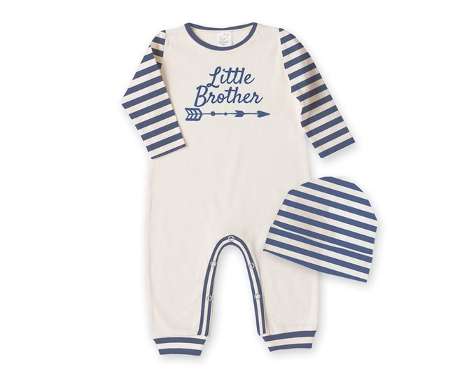 Newborn Boy Coming Home Outfit, Baby Boy Romper, Baby Boy Coming Home Outfit, Blue Little Brother Outfit, TesaBabe RC81IYBI63BI