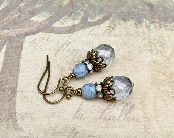 Blue Earrings, Turquoise Earrings, Victorian Earrings, Bridal Earrings, Czech Glass Beads, Blue Wedding, Womens Earrings, Gifts for Her