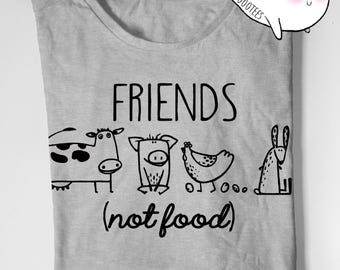 Vegan Shirt Vegetarian T Shirt Tee Mens Womens Ladies Gift Present Animal Lover Statement Tee Animal Rights Rescue Friends Not Food Shirt