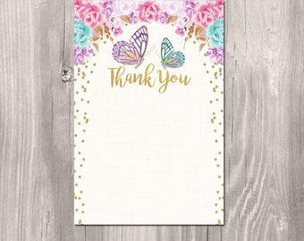 Butterfly thank you card INSTANT DOWNLOAD, butterflies Thank you Note, pink gold glitter spring thank you card, printable