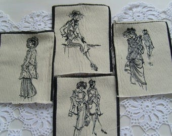 Fashion prints/4 upholstery fabric blocks/midcentury/retro fashion illustration/sewing/quilt/patchwork scraps/Pillow, bag,mixed media DIY