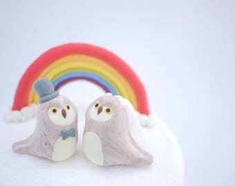 Owl Wedding Cake Topper (With or Without Rainbow)