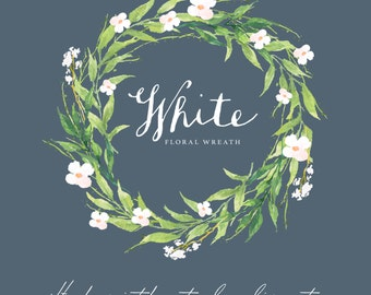 Watercolor floral wreath-White/Individual PNG files/Hand Painted/Wedding design