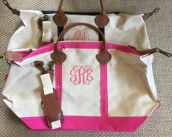 Set of 2 Christmas Gift Monogrammed Weekender Bag Personalized Duffel Bag Monogrammed Canvas Duffle Bag Great gift for her