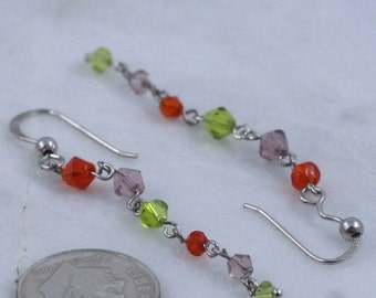 Sterling Silver Earrings / Crystal Earrings / Dangle Earrings / Drop Earrings ( Item#EE547)