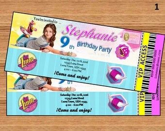 "SOY LUNA1, 2 OR 3 Inspiration Birthday Party Ticket Invitation Personalized Printable 3"" x 7"" Digital File"