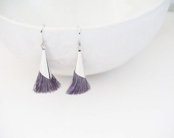 Silver and Grey Tassel Earrings