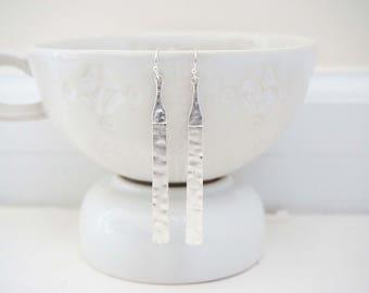 Hammered Silver Bar Earrings