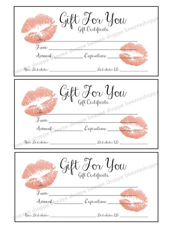 LipSense Gift Certificate SeneGence Gift Card Printable