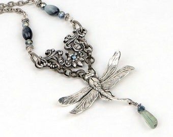 Dragonfly Jewelry Necklace, Statement Necklace, Art Nouveau Jewelry, Victorian Dragonfly Necklace, Art Nouveau Filigree Jewelry, Gift For Me