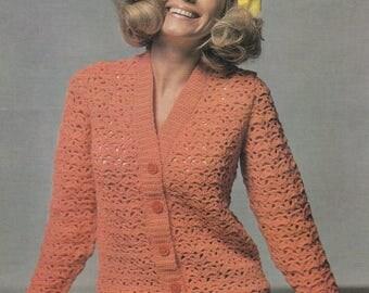 Womens crochet cardigan jacket vintage crochet pattern pdf INSTANT download pattern only