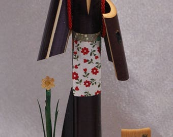 Vintage Tall Wood and Fabric Doll, Washi Paper Obi, Kokeshi Doll, Girls Day, Kimono, Flower, Sand, Signed by Artist