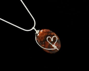 Rhyolite Necklace Valentine Heart Jewelry Statement Pendant Necklace Wire Wrapped Heart Pendant Gemstone Pendant Silver Metaphysical Jewelry