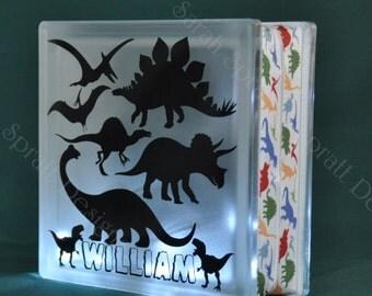 Dinosaurs Illuminated LED Glass Block