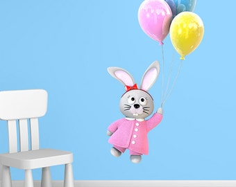 Wall decals rabbit baloon A510 - Stickers lapin ballon A510