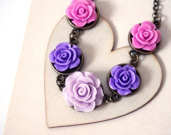 Gradient Roses Bib Necklace Purple Lavender Necklace Lilac Flower Necklace Lavender Floral Jewelry Popular Necklaces Resin Flowers Jewelry