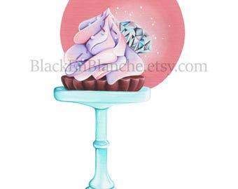 April Birthstone Art Print / Bakery Illustration / Birthday / Diamond Art / Gems / Gemstone / Birthday Cake / Bakery Art / Cupcake Art /Tart