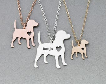 SALE • Beagle Necklace • Beagle Dog Pendant • Pet Charm • Pet Lover • Pet Mom Gift • Tiny Dog • Hound Dog • Pet Silhouette • Engraved Charm