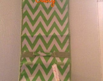 Monogrammed Hanging Roll Up Cosmetic Bag - Personalized with Name or Initials - Lime Green Chevron
