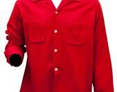 1950s XXL Shirt Work Dress Cherry Red Wool Uniform Mens Retro Rockabilly Button Down Americana Greaser Mod Preppy Rocker Suit Oxford 1940s
