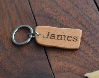 Personalised rustic wooden keyring / key chain fob - Engraved - Beech wood