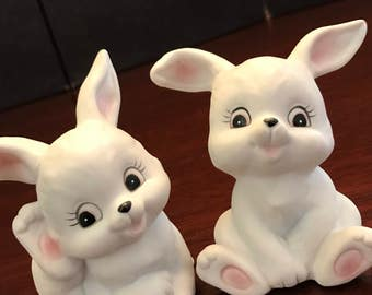 Porcelain Bunny figurines, Vintage Homco Bunnies, collectible bunnies, Baby bunnies, Gift