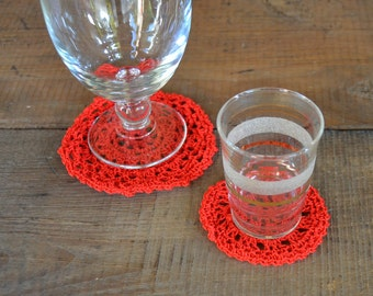 Christmas table decor, red and white christmas decor, christmas coasters, crochet coasters, red doilies, red doily, pure cotton doilies