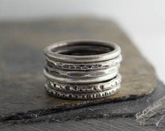 Set of 6 Silver Rings, Stacking Rings, Hammered Ring, Sterling Silver, Band Ring, Staking Silver Ring, Dainty Stacking Ring, Stackable Ring