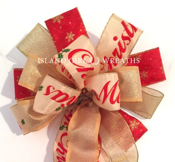 Christmas Wreath Bow, Red And Gold, Christmas Bow, Wreath Bows, Bows For Wreaths, Merry Christmas Ribbon, Wired Ribbon