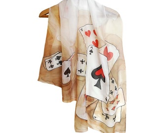 Cards scarf hand painted. Silk chiffon scarf in white, red, black. Original art scarf. Playing cards shawl. Ace spades shawl hand painted.