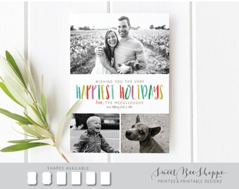 Happiest Holidays Christmas Card, Family Christmas Photo Card, Christmas Card Three Photos, Colorful, Happy, Modern Christmas Card Family