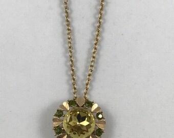 Vintage Avon Sun Brilliants Brooch Pendant combo necklace on gold chain