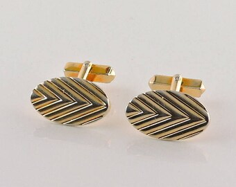 Gold Tone Textured Oval Cuff Links