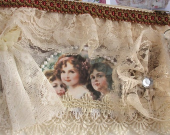 Prom Purse, shabby chic bag, frou frou purse, teen purse,  cosmetic bag, Bags and purses, lace purse