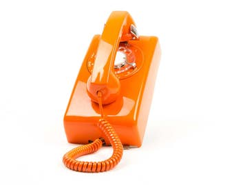 Meticulously Refurbished and Restored Fully Working Rotary Dial Wall Phone - ITT - Model 554 - 1960's - Orange