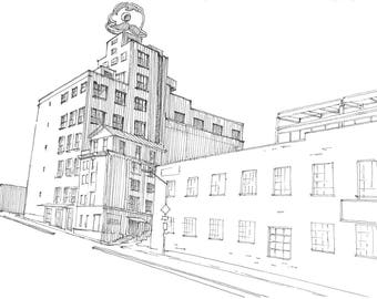 Ink Sketch of Natty Boh Tower in Baltimore, Maryland