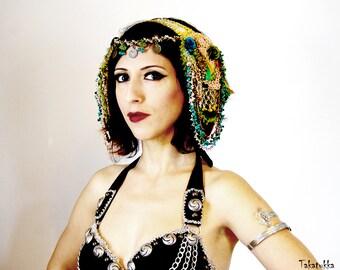 Dance headdress, Tribal Fusion head piece, Belly dance Hair Accessories, Gold hair clip