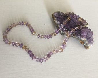 Ametrine Hand Faceted Beads Necklace Magnet Catch