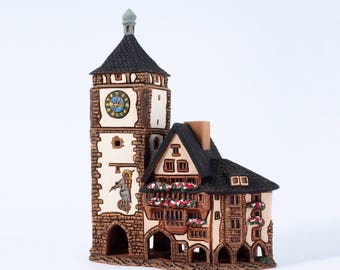"Ceramic incense burner ""Schwabentor in Freiburg, Germany"". Handmade by Midene  (R347)"