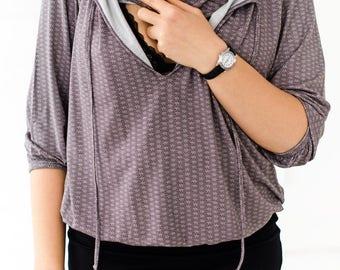 Blouse for breastfeeding mom Breastfeeding 3/4 sleeve top Nursing free cut top Breastfeeding Shirt  Gift for new mom