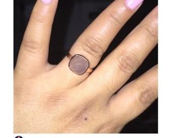 Grey Chalcedony Ring - Bezel Ring - Gemstone Ring - Sterling Silver Ring - Birthstone Ring, 10mm Cushion Cut - #1133