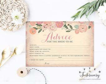 Bridal Shower Advice Card - Fill in the Blank Advice Card Bridal Shower Games Printable (Instant Download) No.30BRIDE