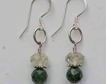 Green Amethyst & Moss Agate Earrings