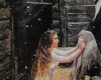 Spring - Artist A. Plastov - Vintage Soviet Postcard, 1975. Pravda Publ. Baby, Mother, Daughter, Girl, Family, Russian Bath