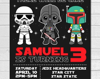 Star Wars invitation, Star Wars Birthday Invitation, Darth Vader Invitation, Star Wars Invites