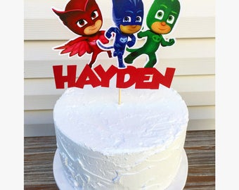 PJ Masks Cake Topper - P J Mask Cake Topper - PJ Mask Birthday Party Decorations - PJ Masks Birthday Supplies - Personalized Cake Topper