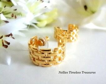 Vintage Avon Gold Hoop Earrings,Avon Earrings,Avon Jewelry,Basketweave Earrings,Stud Earrings,Vintage Jewelry,Surgical Steel Posts,Gift
